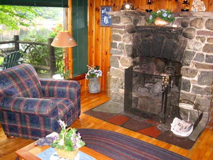 Algonquin Cottage fieldstone fireplace