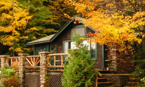 Marcy Cottage Fall Deck - Harbor Hill at Saranac Lake